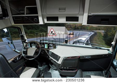Self Driving Truck On A Road. Vehicle To Vehicle Communication. Data Exchange Between Autonomous Car