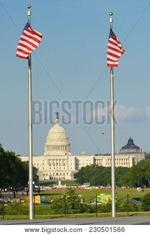 Washington DC - United States Capitol Building as seen from Washington Monument