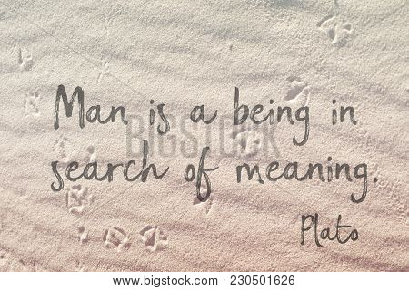 Man Is A Being In Search Of Meaning - Plato Quote On Wavy Sand Surface