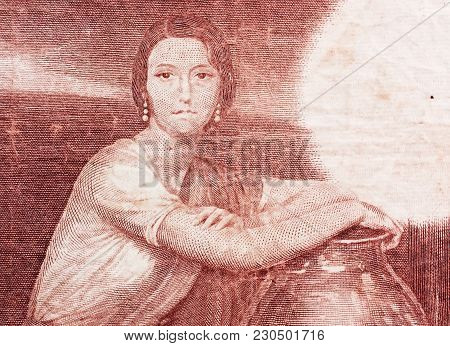 Young Woman Portrait On Vintage Spainish Pesetas Banknote Close-up