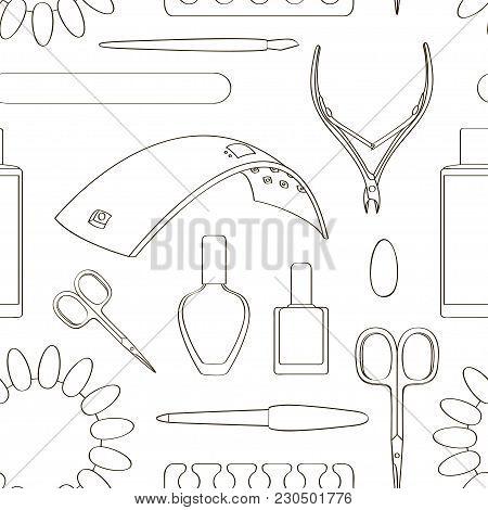 Nail Salon Set Pattern. Manicure-pedicure Set With Nails, Nail Polish, Scissors, Manicure Equipment.