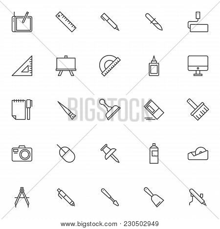 Design Elements Outline Icons Set. Linear Style Symbols Collection, Line Signs Pack. Vector Graphics