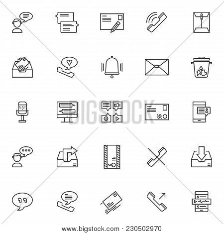 Dialogue Outline Icons Set. Linear Style Symbols Collection, Line Signs Pack. Vector Graphics. Set I