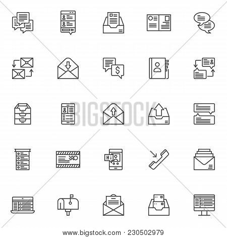 Dialogue Messages Outline Icons Set. Linear Style Symbols Collection, Line Signs Pack. Vector Graphi