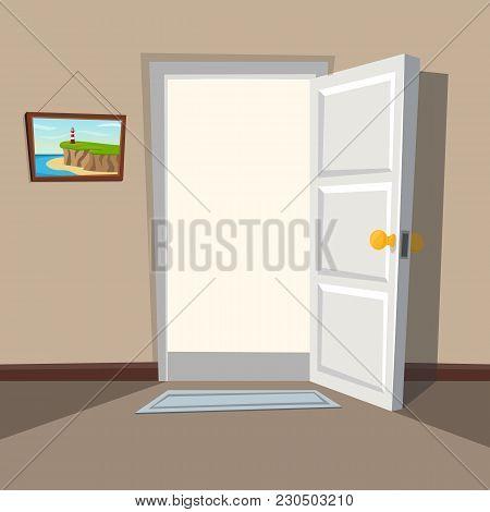 Doorway With An Open White Door. Welcome To The Real World. Interior With An Open Door. Vector Illus