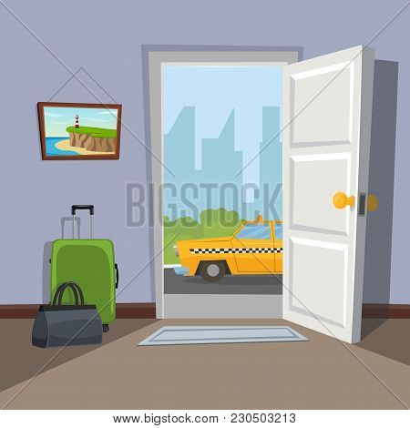 An Open Doorway To The City. The Taxi Is Waiting At The Door. Go On Vacation. Welkome To The Real Wo