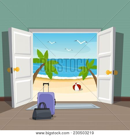 Open Doorway To The Beach. Go On Vacation. Luggage At The Door. Vector Illustration.
