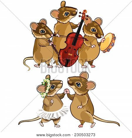 The Little Mice Dance And Play Musical Instruments. Vector Illustration.