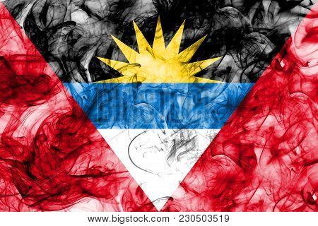 Antigua And Barbuda Smoke Flag On A White Background