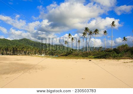 Landscape Of The Beach Of Nacpan. The Island Of Palawan. Philippines.