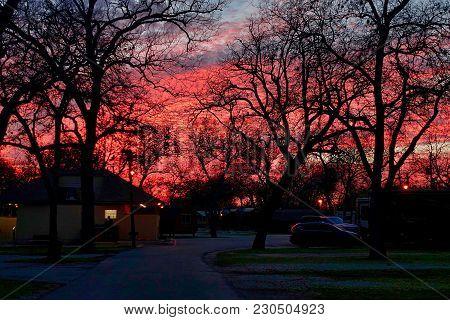 San Antonio, Usa, 2018.03.01.: A Sunset Over San Antonio In The Usa.