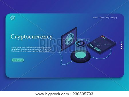 Cryptocurrency Isometric Composition 2-3