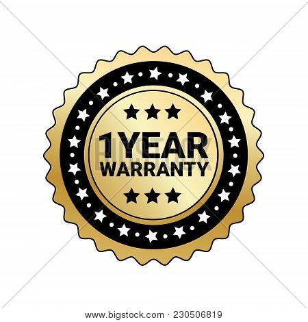 1 Year Warranty Sign Isolated Golden Mark Icon Vector Illustration