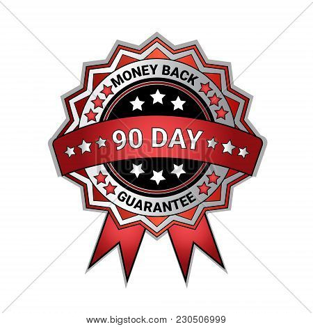 Silver Medal Money Back In 90 Days Guarantee Isolated Template Seal Icon Vector Illustration