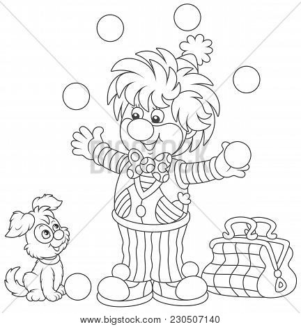 Friendly Smiling Circus Clown Juggling With Balls And Playing With His Small Dog, A Black And White