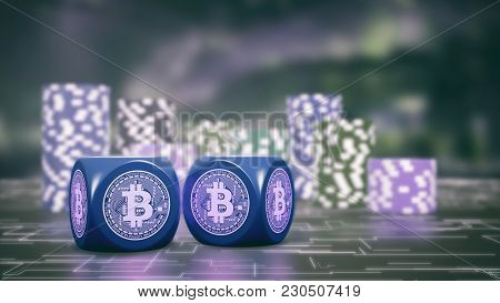 Two Dices With Bitcoin Symbol And Stacks Of Chips On Background, Concept Of Betting With Cryptocurre