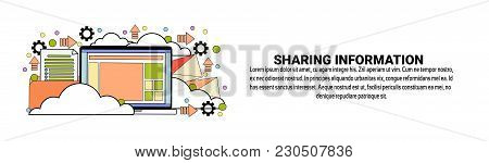 Sharing Information Technology Concept Horizontal Web Banner With Copy Space Vector Illustration
