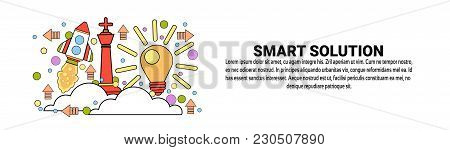 Smart Solution Business Concept Horizontal Web Banner With Copy Space Vector Illustration