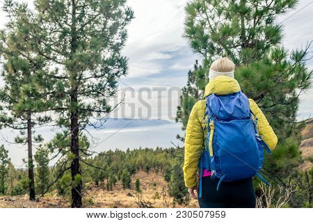 Hiking Woman With Backpack Looking At Inspirational Mountains Landscape And Woods. Fitness Travel An