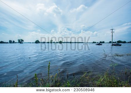 Water Flooding Rice Fields In Thailandthe Area Of Agriculture Is Greatly Damaged