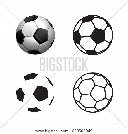 Football Ball Icon , Flat Style , 3d Style, Single Line Style  .soccer Ball Pictogram. Football Symb