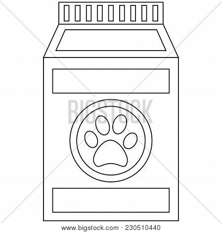 Line Art Black And White Wet Pet Food Bag Icon Poster. Pet Care Themed Vector Illustration For Gift
