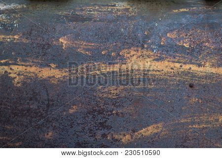 The Flaking Yellow Color With Scratched On The Surface Of Rusty Galvanized Iron Plate. Rusty Yellow