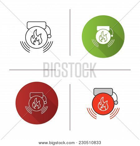 Fire Alarm Icon. Flat Design, Linear And Color Styles. Alert. Isolated Vector Illustrations