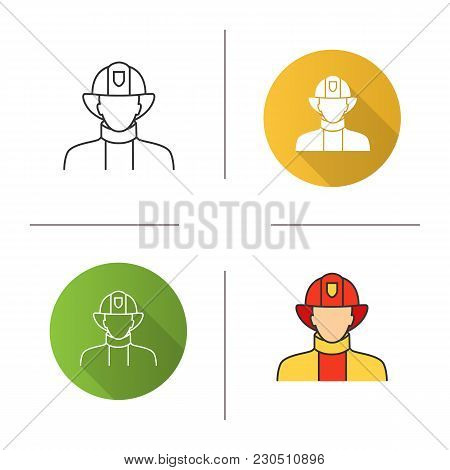 Firefighter Icon. Flat Design, Linear And Color Styles. Fireman. Isolated Vector Illustrations
