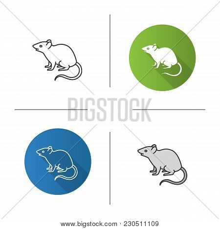 Mouse, Rat Icon. Flat Design, Linear And Color Styles. Rodent. Pest. Isolated Vector Illustrations