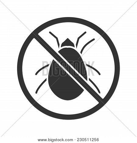 Stop Mites Sign Glyph Icon. Parasitic Insects Repellent. Pest Control. Silhouette Symbol. Negative S