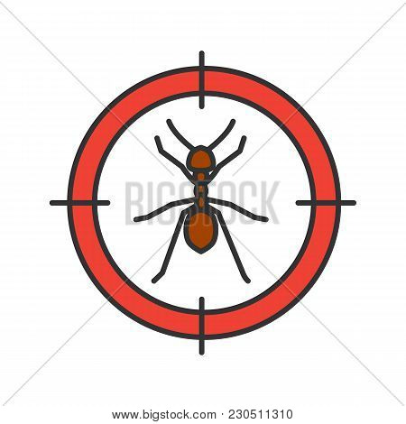 Ants Target Color Icon. Insects Repellent. Pest Control. Isolated Vector Illustration