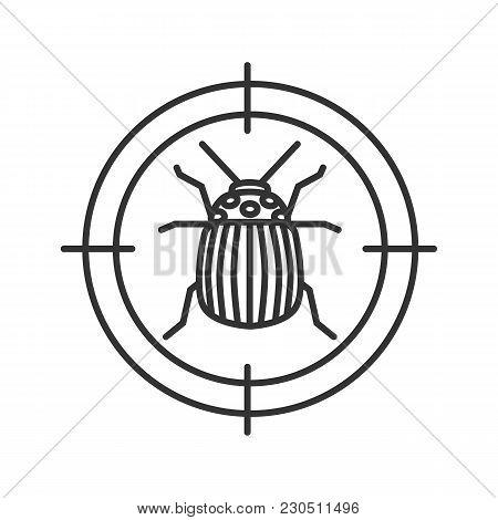 Colorado Beetle Target Linear Icon. Potato Bug Repellent. Pest Control. Thin Line Illustration. Cont