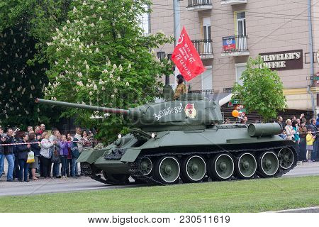 Donetsk, Ukraine - May 9, 2017: Tank Of The Second World War At The Military Parade In Honor Of The