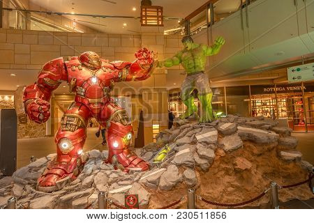Tokyo, Japan - April 20, 2017: Iron Man Wears The Mark 44 Or Hulkbuster, An Extra Heavy-duty Armor T