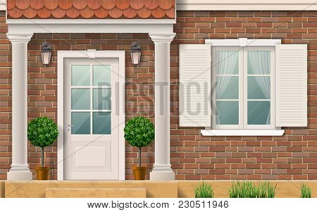 The Facade Of A Brick Residential House. Porch Entrance With Columns. Realistic Vector Illustration.