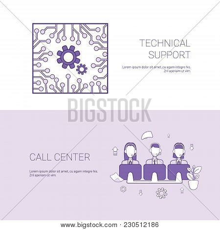 Technical Support And Call Center Service Concept Template Web Banner With Copy Space Vector Illustr