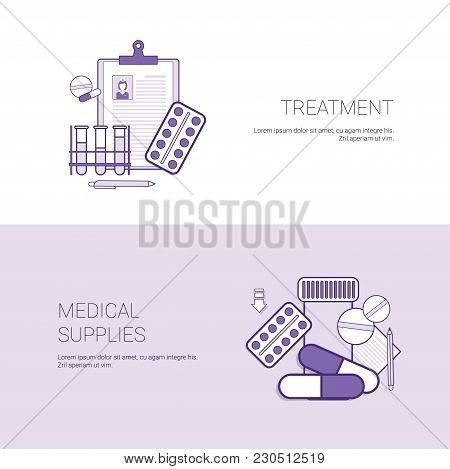 Tratment And Medical Supplies Concept Template Web Banner With Copy Space Vector Illustration