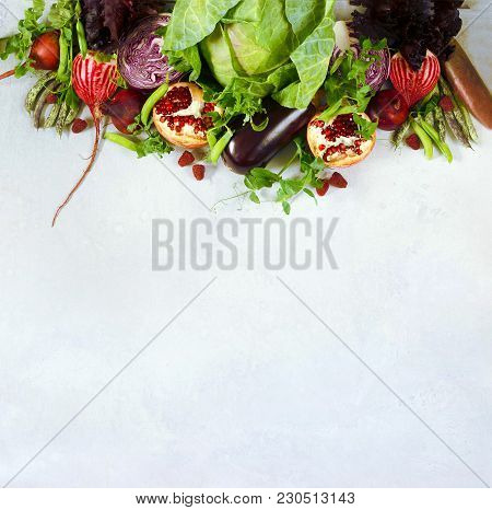 Fresh Vegetables And Fruit On A Gray Background. A Place For A Label. Healthy Eating. Panorama