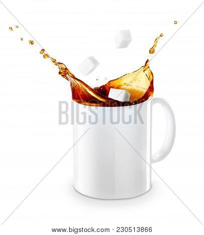 Mug Of Spilling Coffee Or Tea Isolated On White Background. Cup Of Splashing Coffee With Sugar