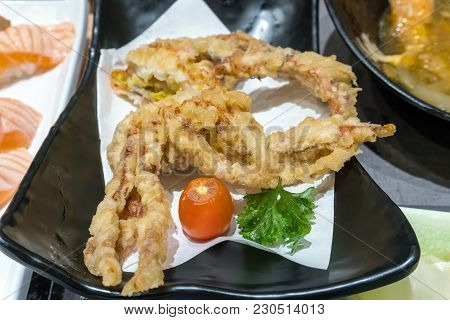 Deep Fried Japanese Spider Crab Appetizer Closeup Macro
