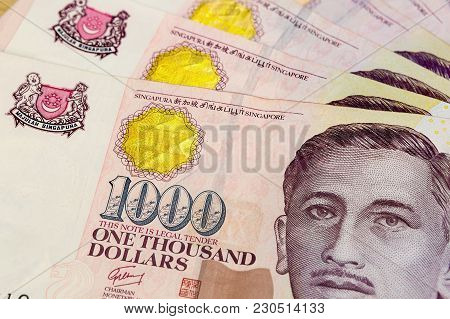 Singapore Currency One Thousand Dollars Bill Notes Closeup Macro