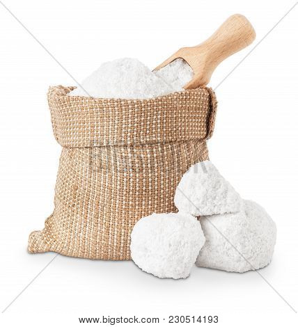 Pieces Of Salt, Crystals Of Salt In Bag And Scoop Isolated On White Background