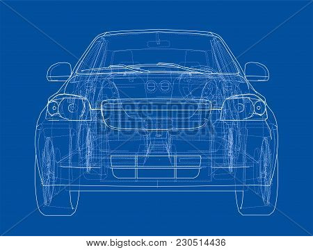 Concept Car. Vector Rendering Of 3d. Wire-frame Style. The Layers Of Visible And Invisible Lines Are