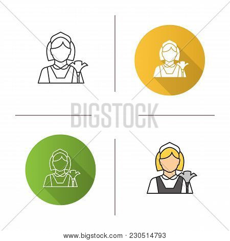 Maid Icon. Flat Design, Linear And Color Styles. Cleaner. Housekeeping. Isolated Vector Illustration
