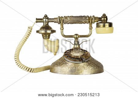 Antique Victorian-style Rotary French Telephone In Golden Color