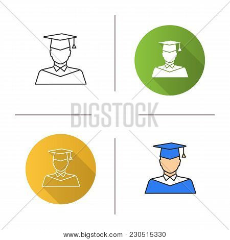 Graduate Student Icon. Flat Design, Linear And Color Styles. Person In Academic Dress. Isolated Vect