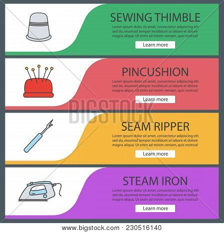 Tailoring Web Banner Templates Set. Sewing Thimble, Pincushion, Seam Ripper, Steam Iron. Website Col