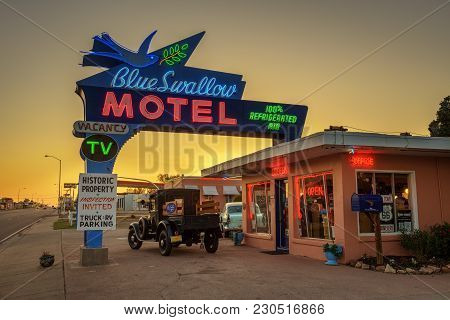 Tucumcari, New Mexico - May 13, 2016 : Historic Blue Swallow Motel At Sunset This Building Is Listed