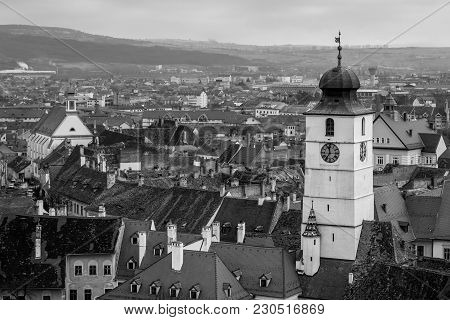 Sibiu Council Tower Viewed From The Evangelical Church.